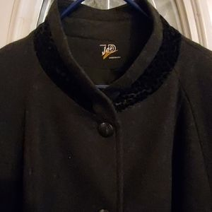 LONG Wool Dress Coat Black Gray Animal Print 4X